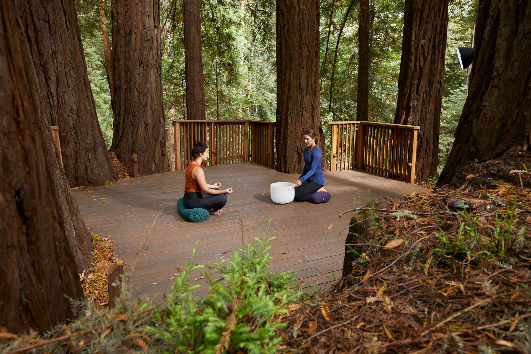 Meditating at Canyon Ranch Wellness Retreat in Woodside